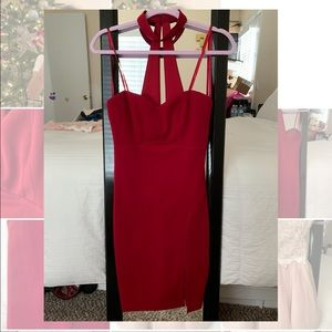 red mini dress w side slit for the holidays